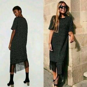 Zara Black Striped Short Sleeve Midi Fringe Dress